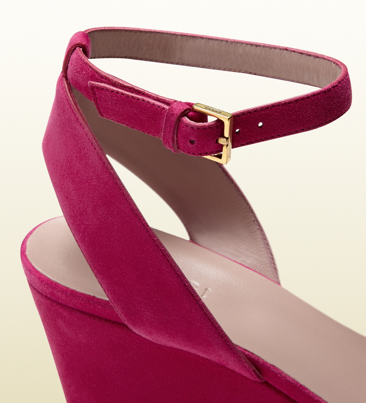 8aff2805f7 Gucci Suede Mid Heel Wedge Sandal in Pink - Lyst