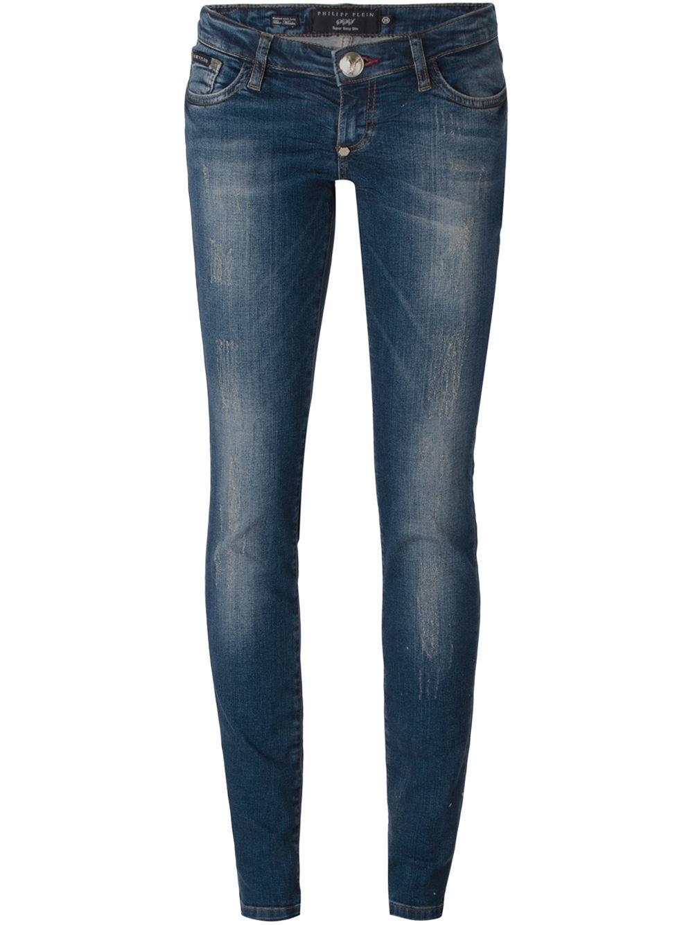 philipp plein 39 meow 39 slim fit jeans in blue lyst. Black Bedroom Furniture Sets. Home Design Ideas