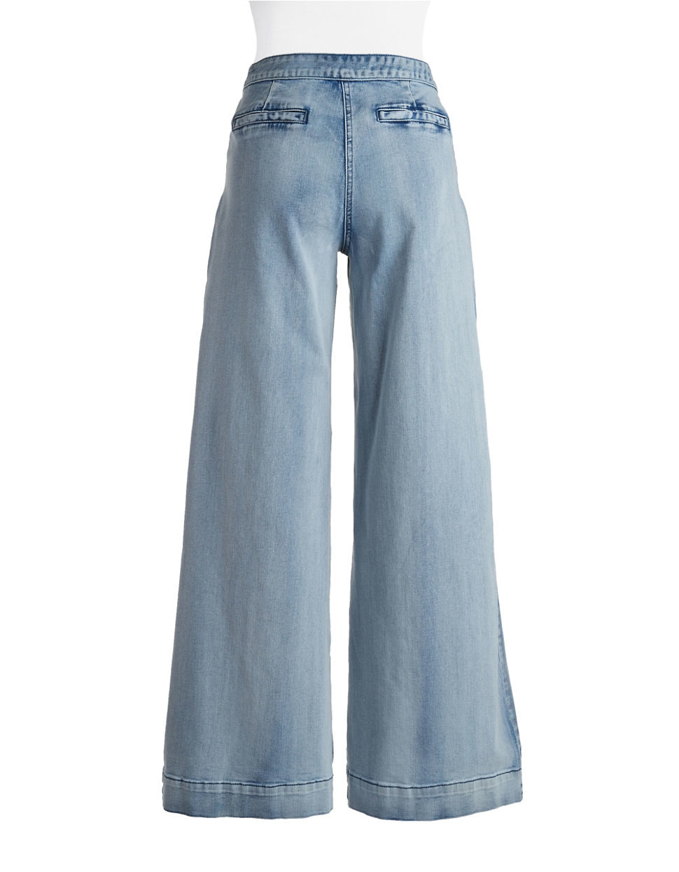 Plenty by tracy reese chambray wide leg jeans in blue lyst for Chambray jeans