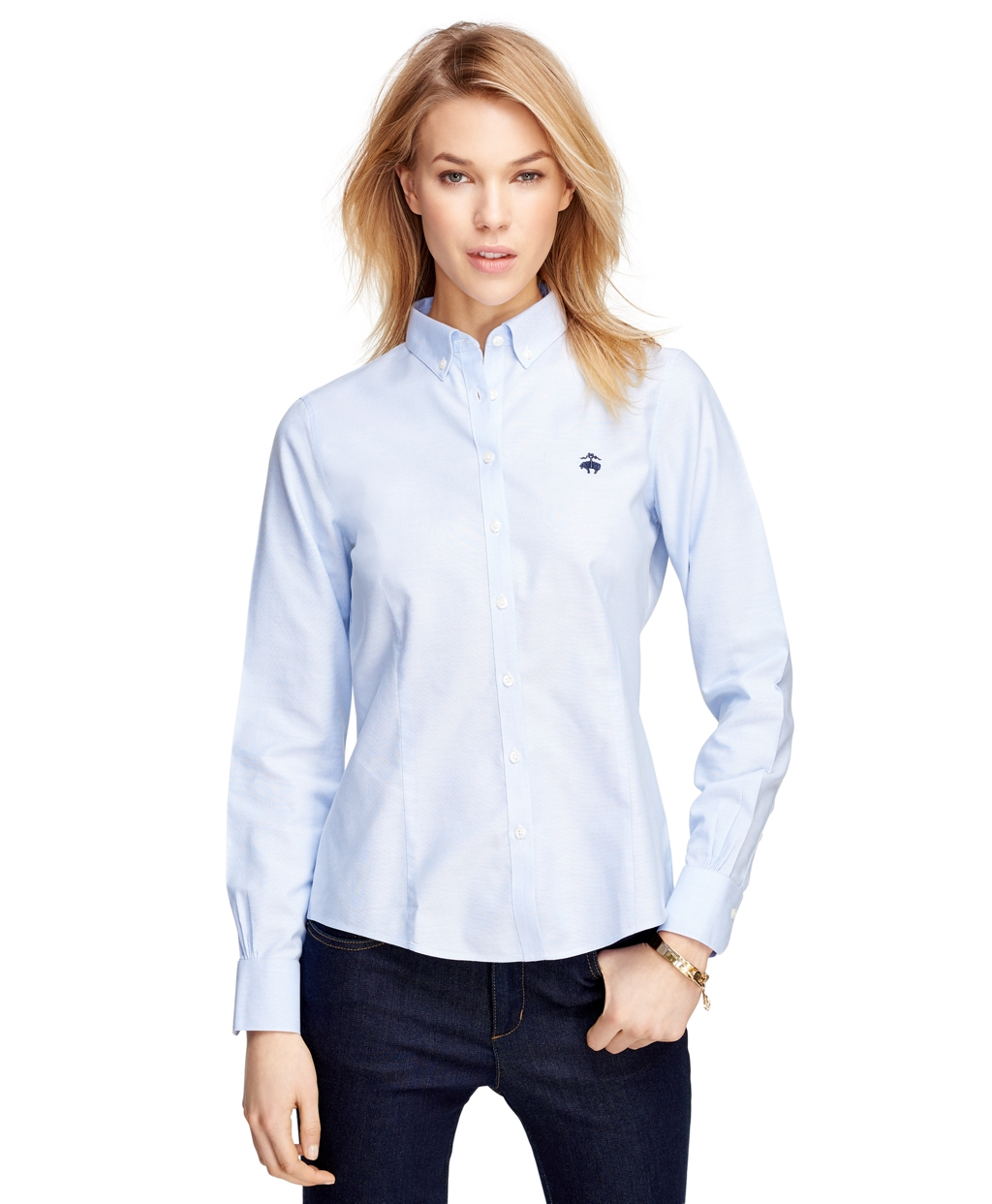 Lyst brooks brothers petite non iron tailored fit supima for Tailored fit dress shirts