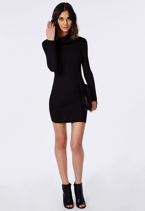 Lyst - Missguided Ribbed Roll Neck Long Sleeve Bodycon Dress Black ... b3ce742de