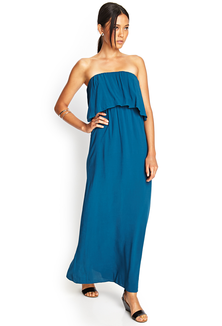 3c6786fed902 Forever 21 Strapless Flounce Maxi Dress in Blue - Lyst