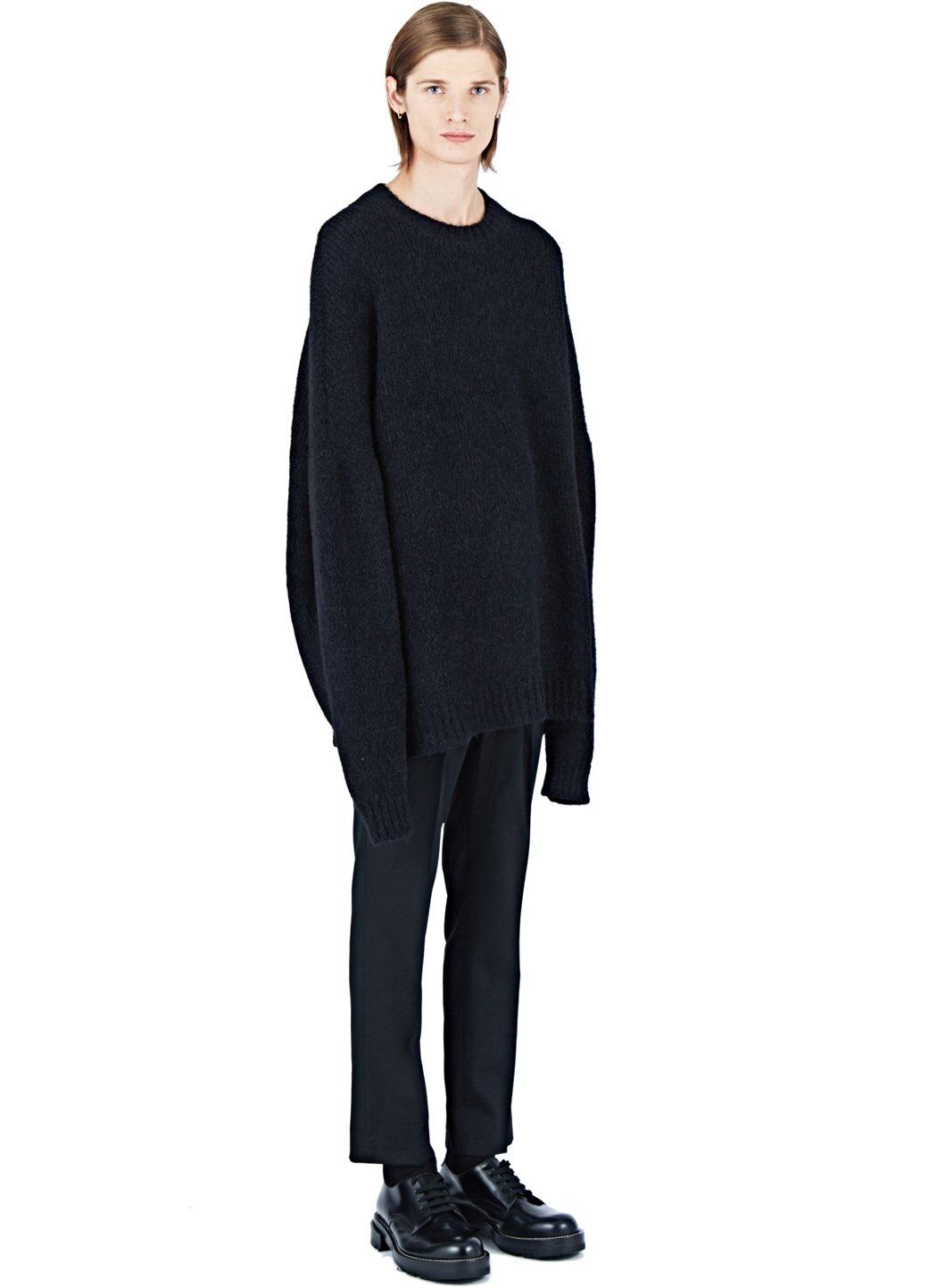 Thamanyah Oversized Crew Neck Sweater In Black For Men Lyst
