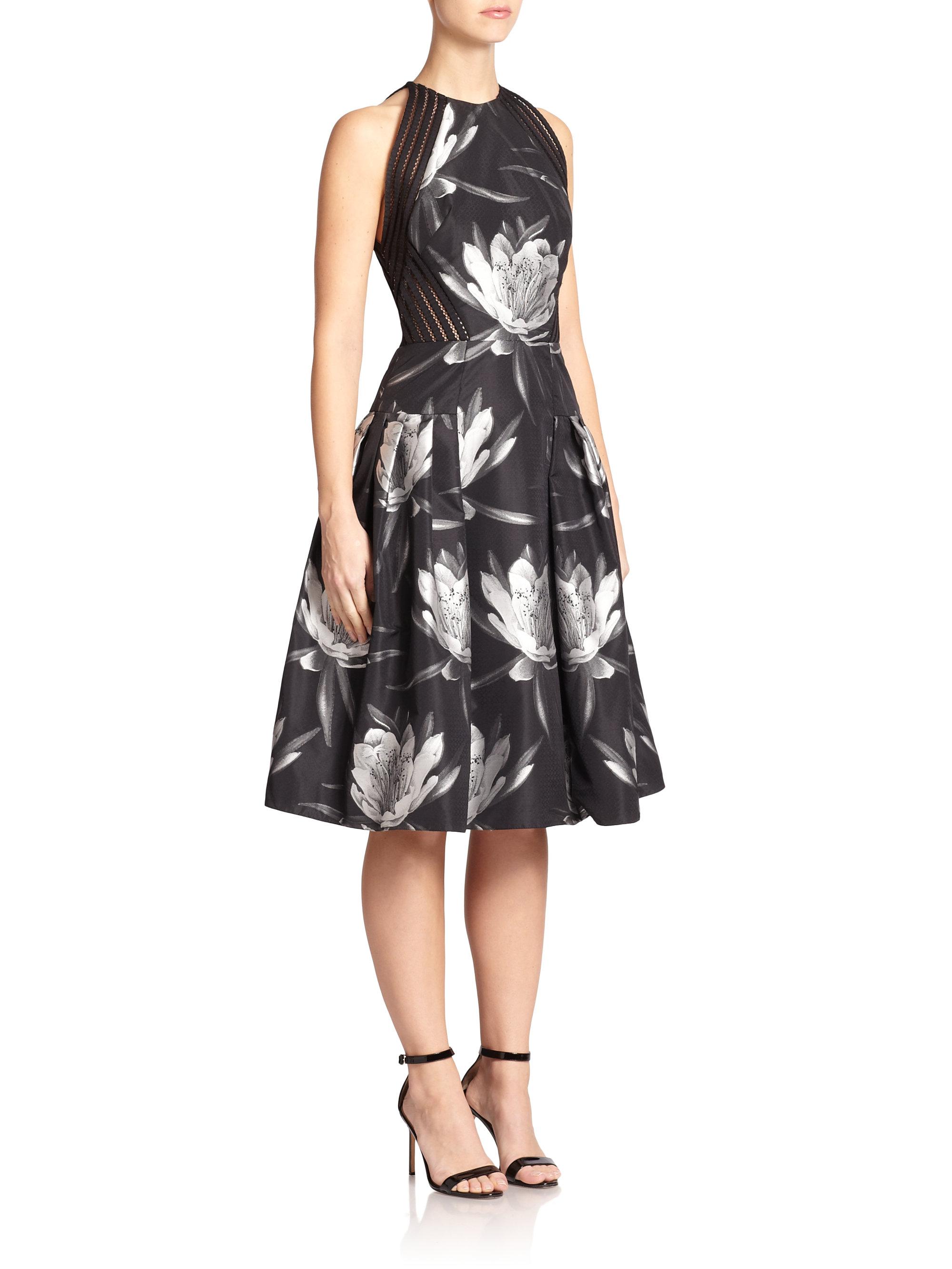Lyst Carmen Marc Valvo Floral Jacquard Dress In Black