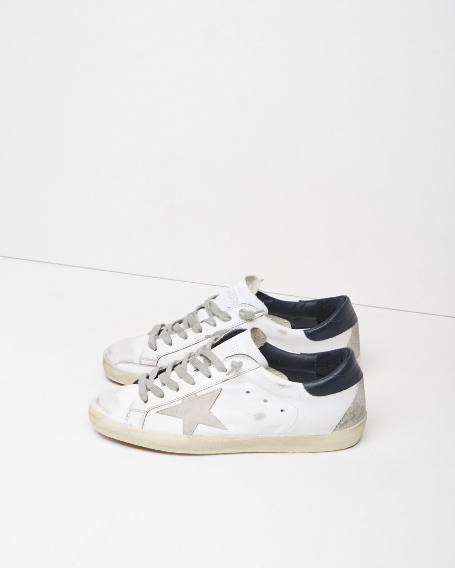 golden goose deluxe brand superstar leather low top sneakers in white white blue cream lyst. Black Bedroom Furniture Sets. Home Design Ideas
