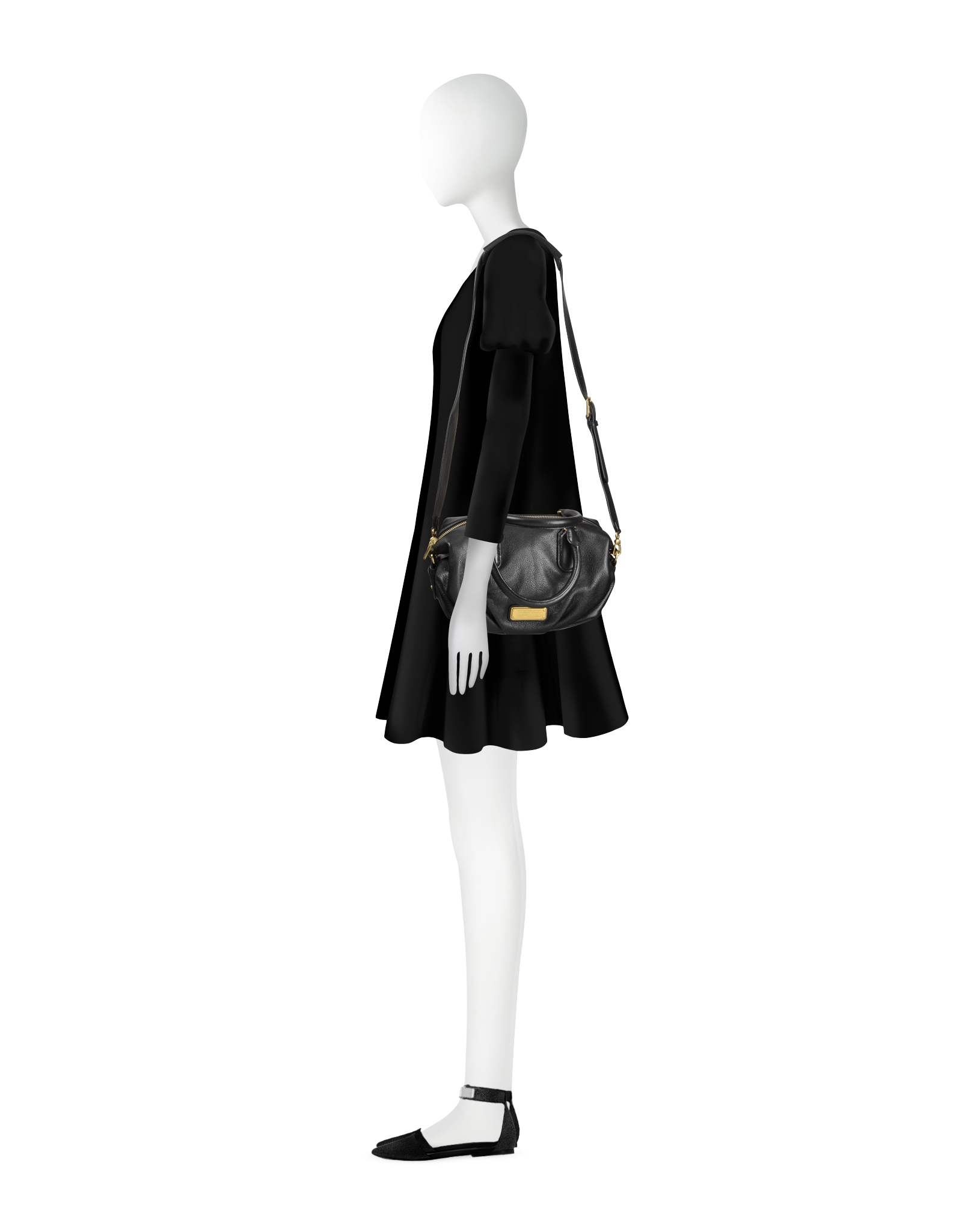 Marc by marc jacobs New Q Small Legend Black Leather Shoulder Bag ...