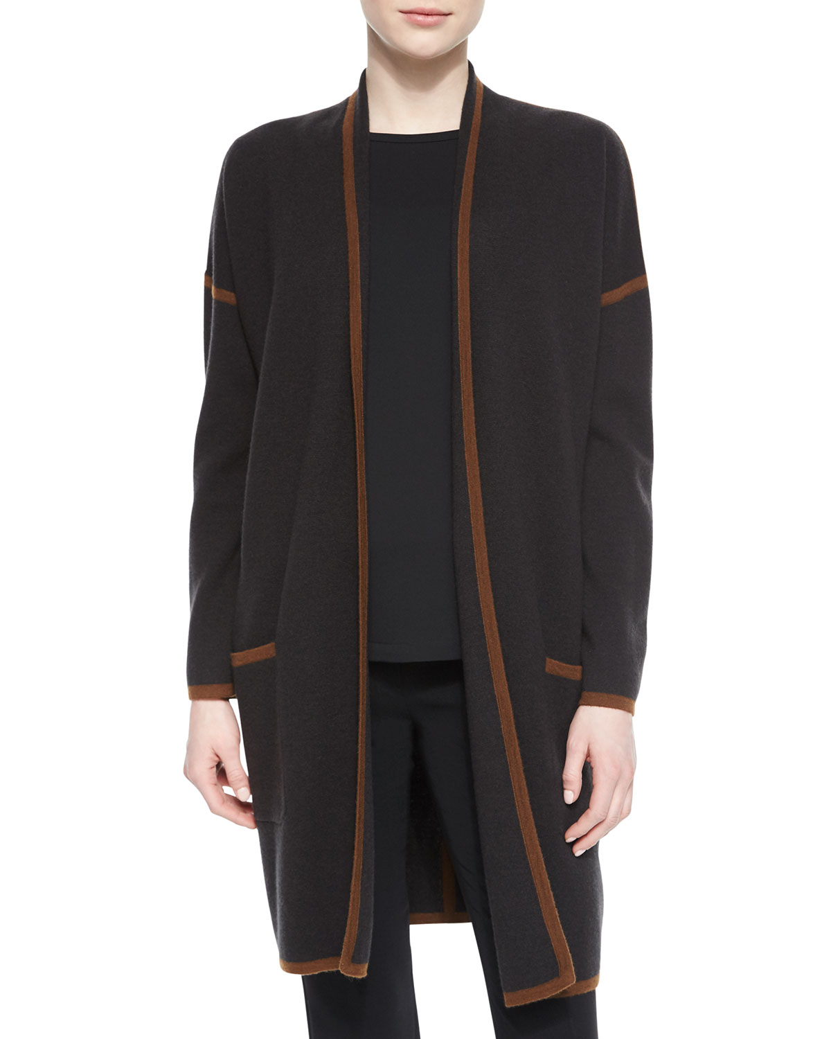 Max mara Cashmere-blend Contrast Trimmed Wrap Cardigan in Brown | Lyst