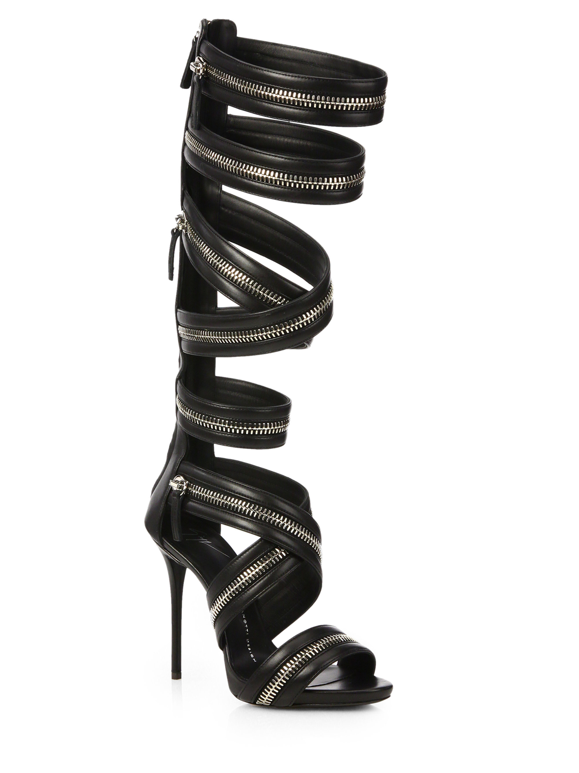 53b8431ff10c Lyst - Giuseppe Zanotti Leather Knee-high Zipper Gladiator Sandals ...