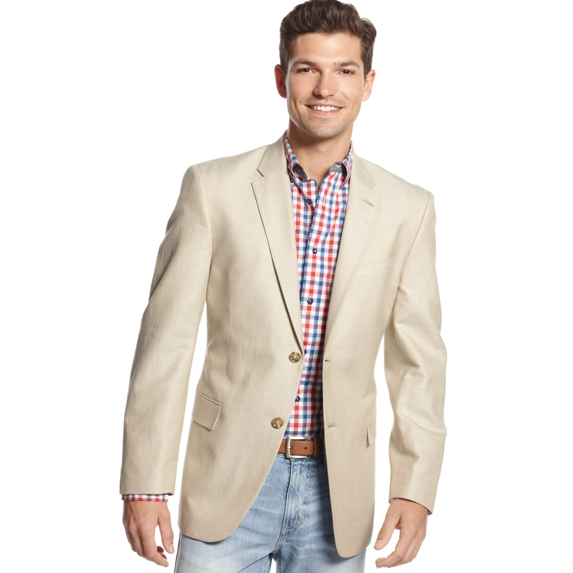 Tommy hilfiger Tan Solid Hopsack Linenblend Sport Coat in Natural ...