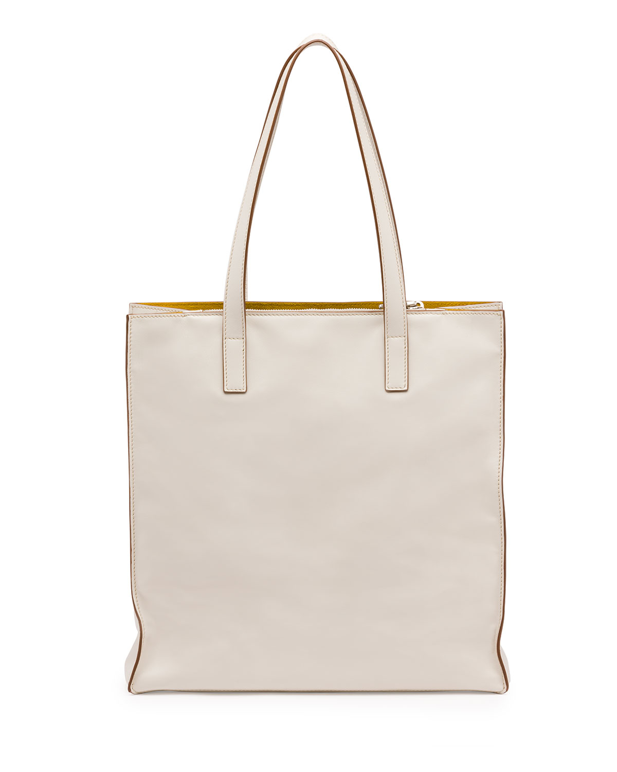 black leather prada - Prada Soft Calfskin North-south Tote Bag in White (WHITE/YELLOW ...