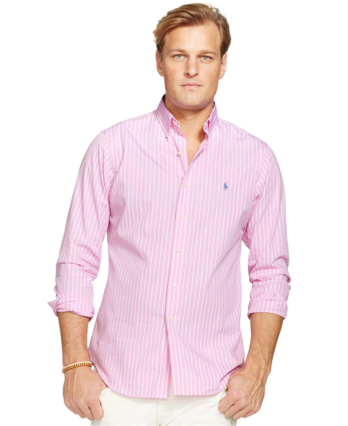Polo ralph lauren Big And Tall Poplin Striped Long Sleeve Shirt in ...