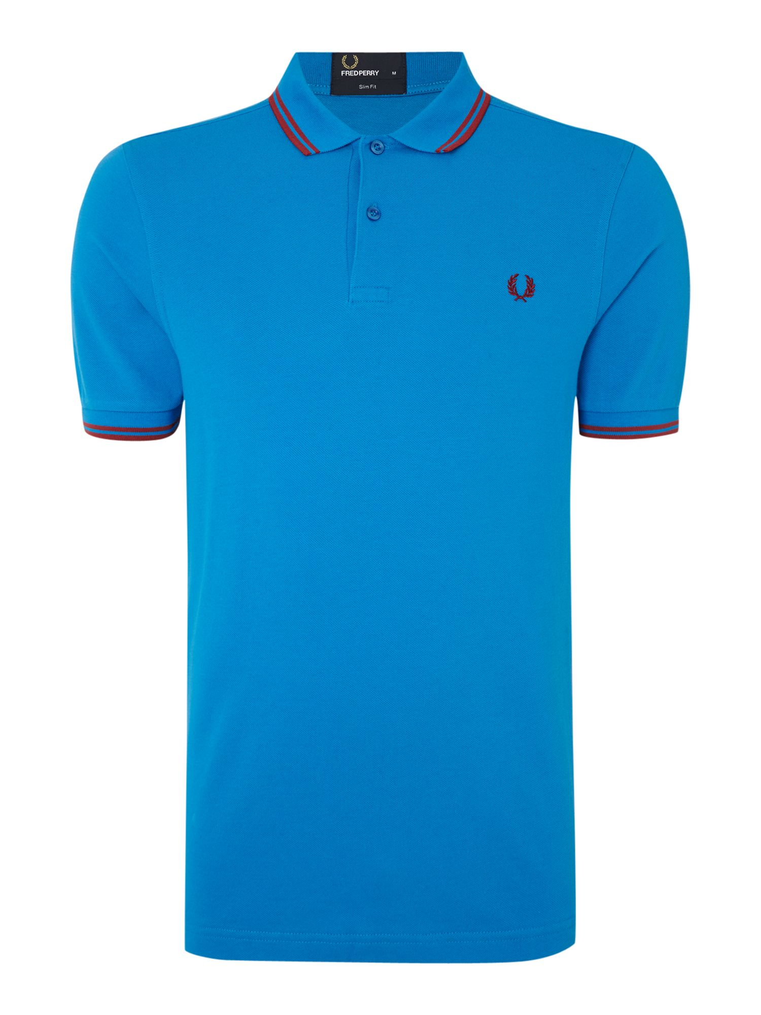 fred perry plain slim fit polo shirt in blue for men. Black Bedroom Furniture Sets. Home Design Ideas