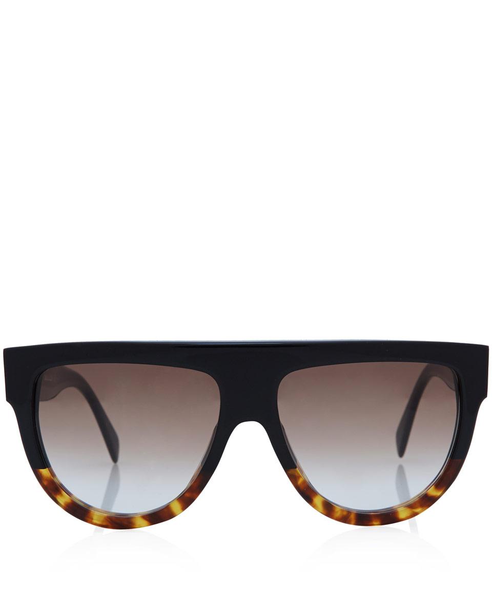 Céline Tortoiseshell and Black Flat Top Acetate Sunglasses in Black ... 1f81e0979d
