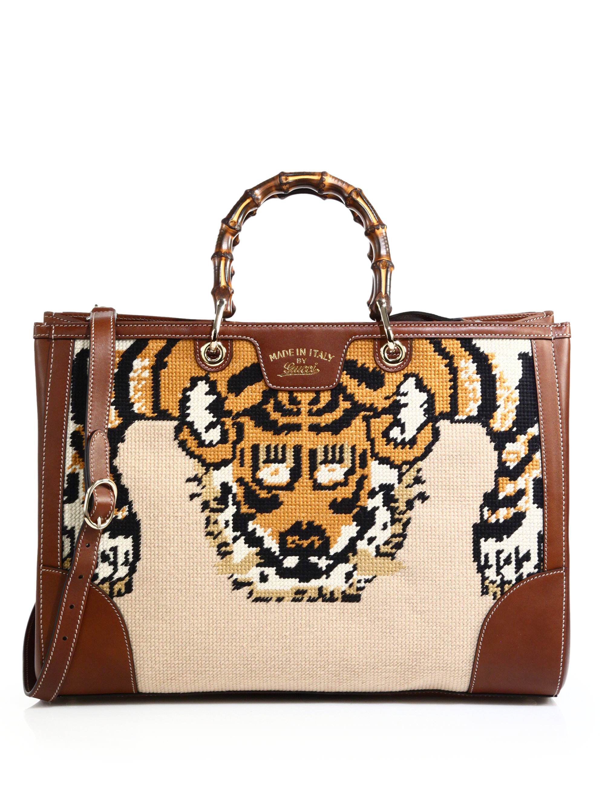 796166d022e Lyst Gucci Bamboo Embroidered Tote With Tiger Bee