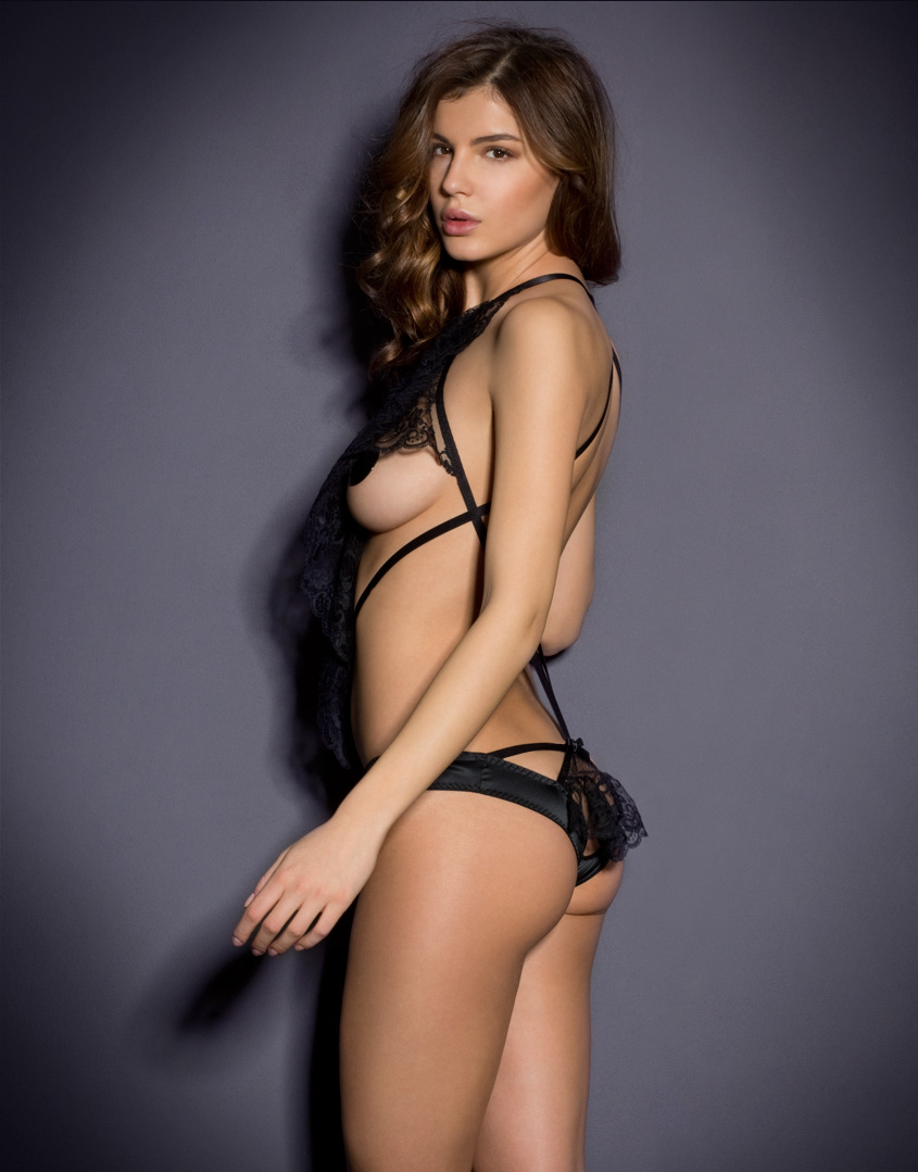 6eb93a54266 Lyst - Agent Provocateur Chrissy Playsuit in Black