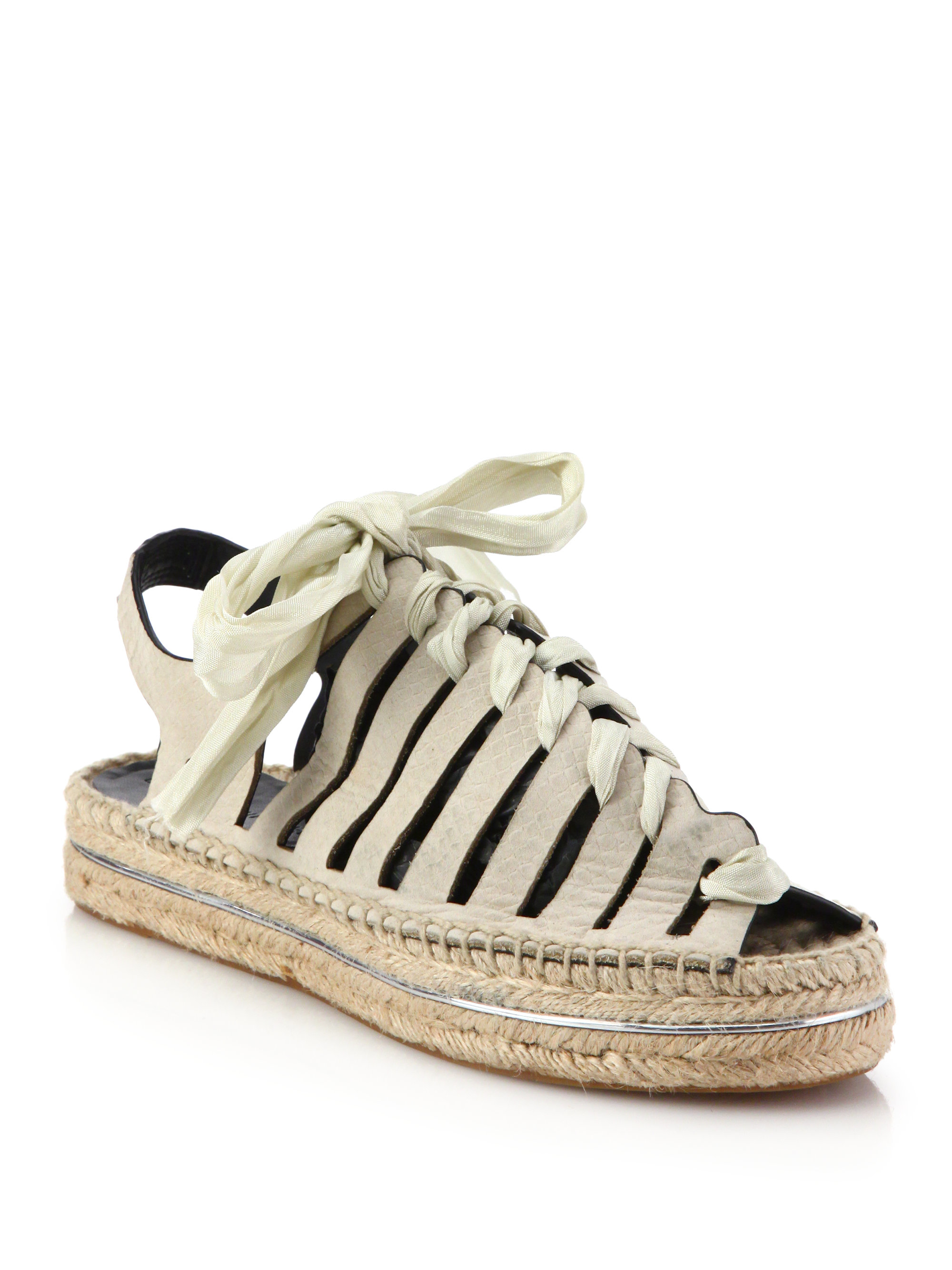 eb924367b200 Lyst - Rebecca Minkoff Gemma Lace-up Leather Espadrille Sandals in White