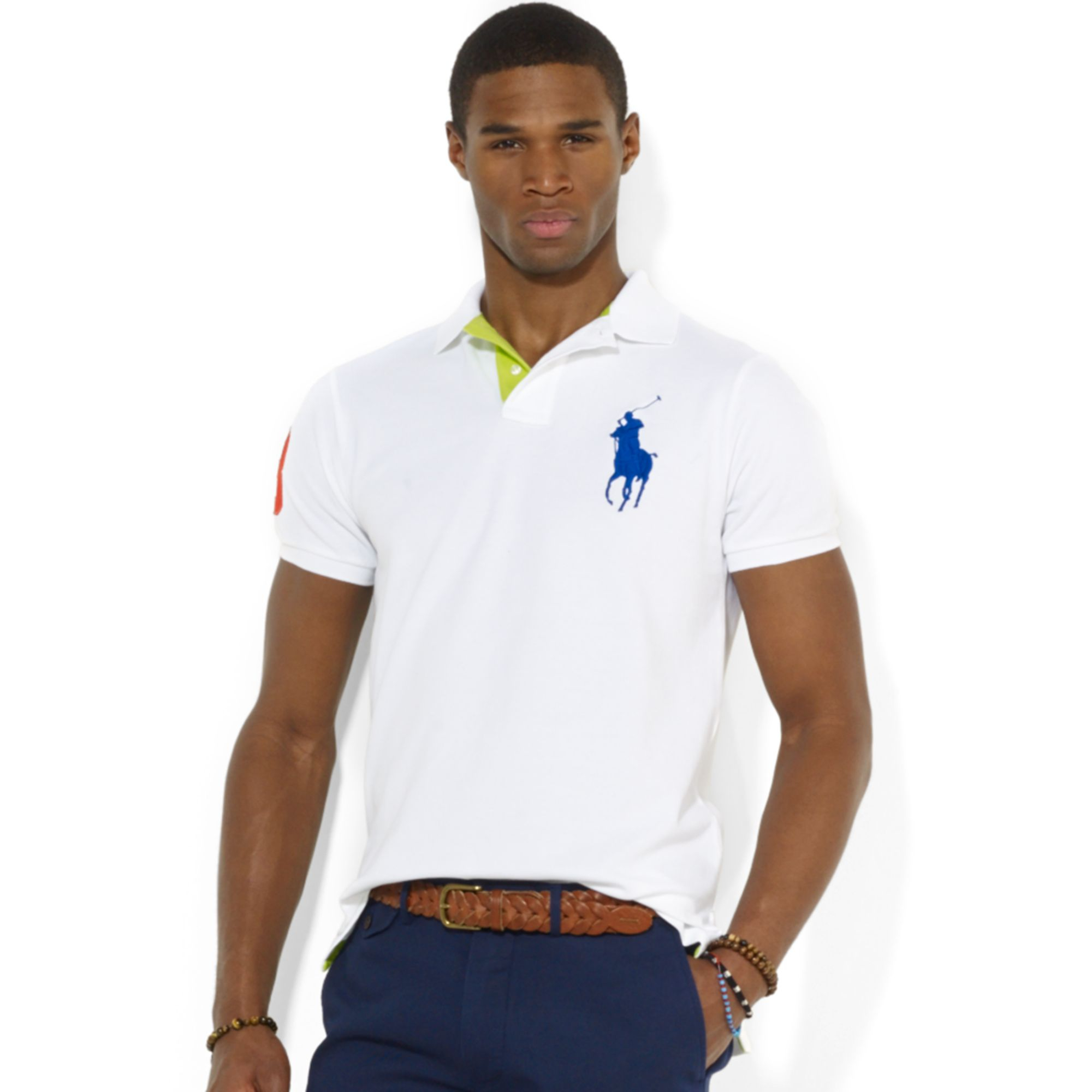 3ae372ac10d Lyst - Polo Ralph Lauren Custom Fit Big Pony Mesh Polo Shirt in ...
