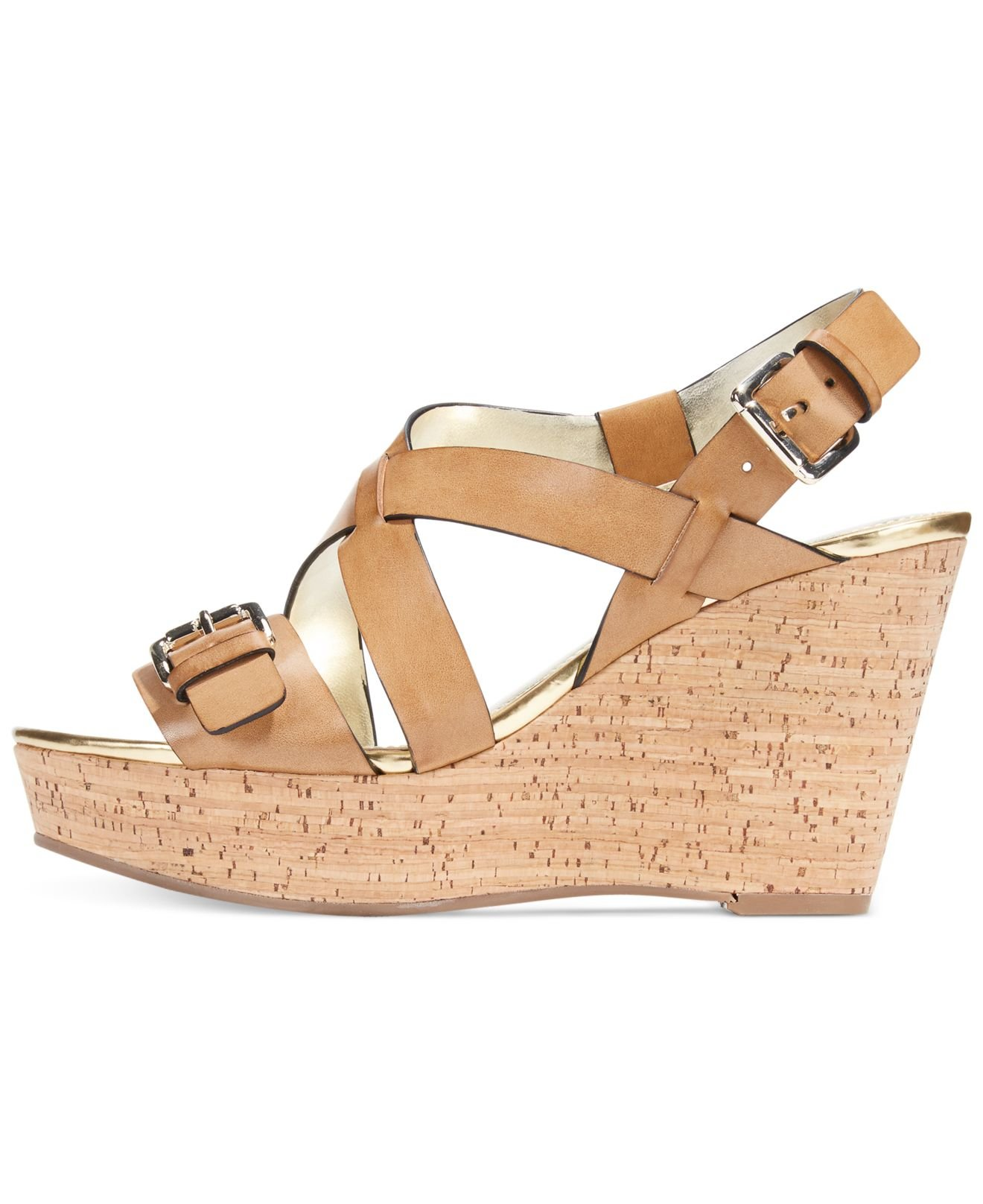 marc fisher gilon platform wedge sandals in brown lyst