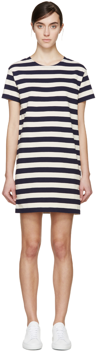 The Lulus Cafe Society Navy Blue Striped Shirt Dress is cool enough for the cafe crowd, and comfy enough for cuddling on the couch! Stretch knit shapes this casual t-shirt dress with a shift silhouette/5().