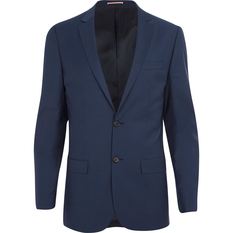 River island Blue Wool-blend Skinny Suit Jacket in Blue ...