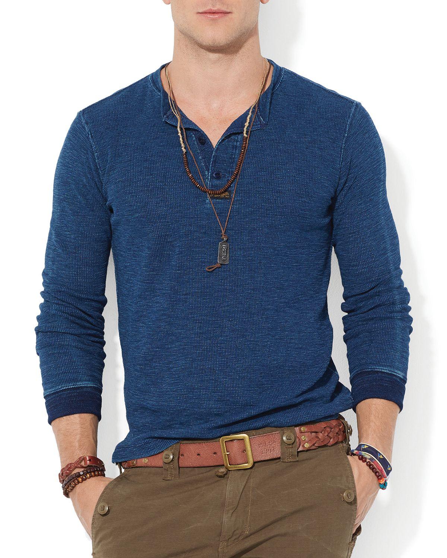 lyst ralph lauren polo textured cotton henley in blue