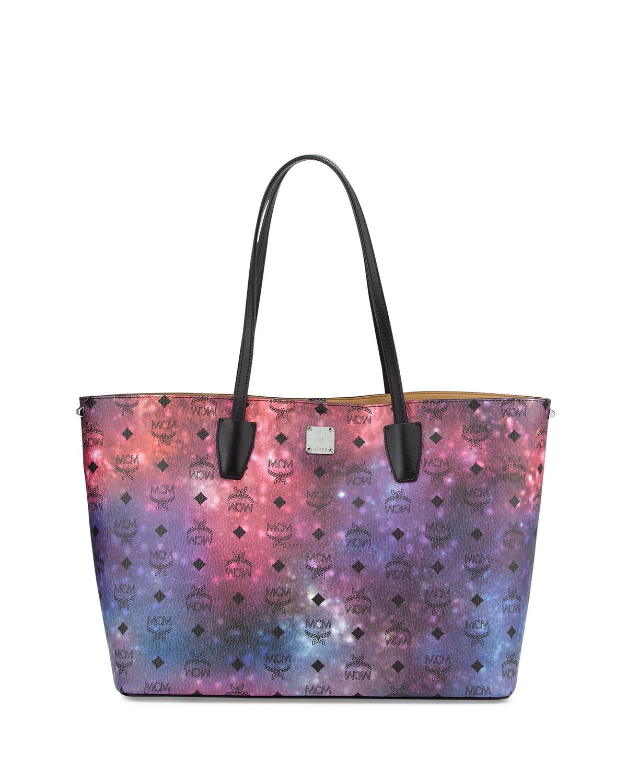 mcm galaxy visetos medium tote bag in black lyst