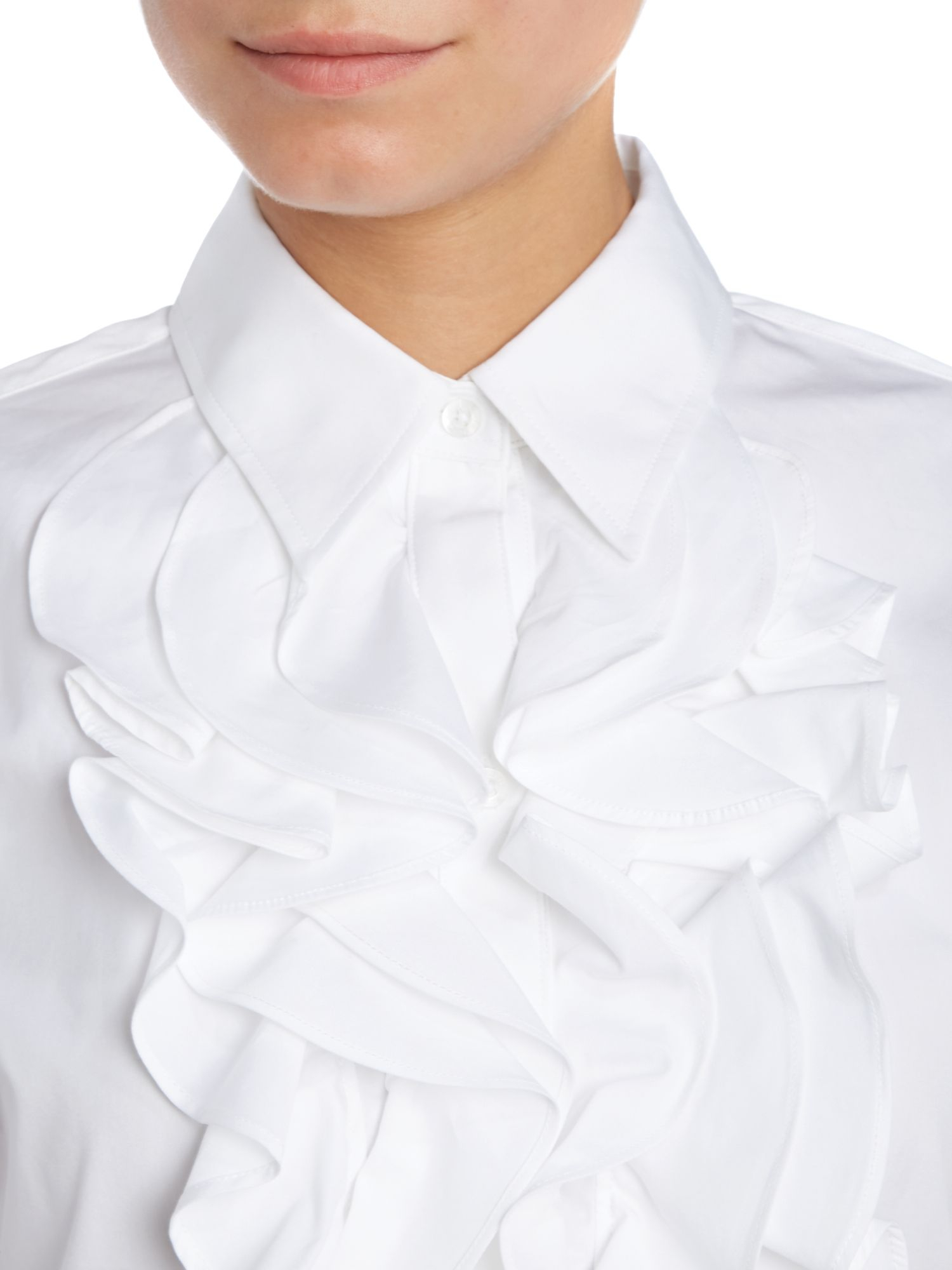 lauren by ralph lauren mandell ruffle front shirt in white lyst. Black Bedroom Furniture Sets. Home Design Ideas