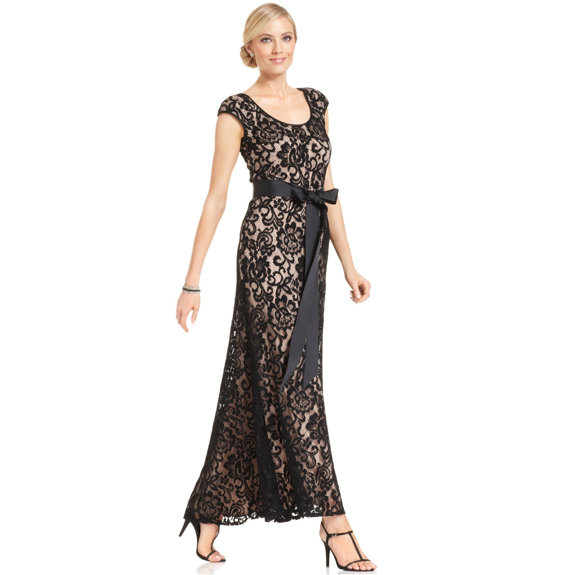 Lyst Betsy Amp Adam Capsleeve Belted Lace Gown In Black
