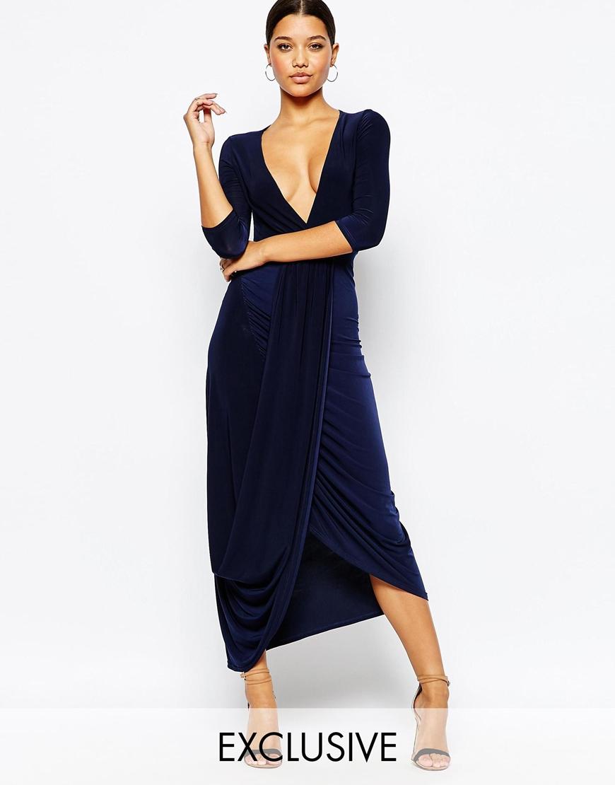Club L Womens Wrap Front 3/4 Sleeve Dressn Navy - Dresses
