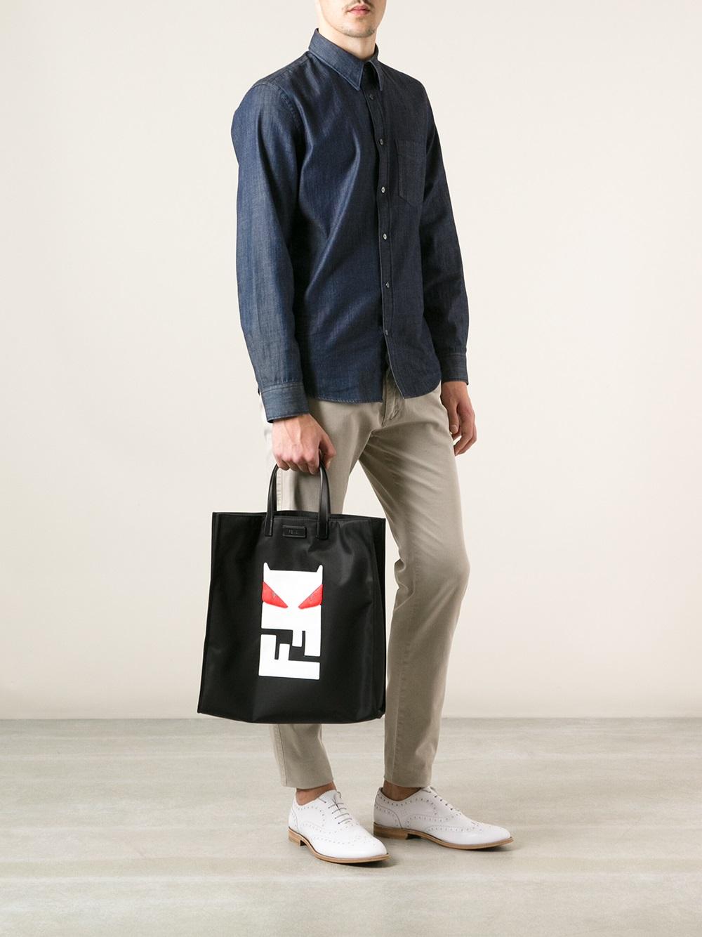 ... free shipping lyst fendi bag bugs tote in black for men 4dd7e 262b7 424e46b454949