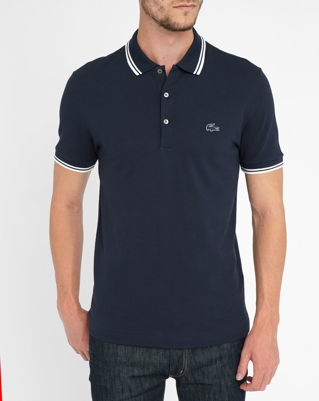 lacoste navy short sleeve white trim slim fit polo shirt. Black Bedroom Furniture Sets. Home Design Ideas