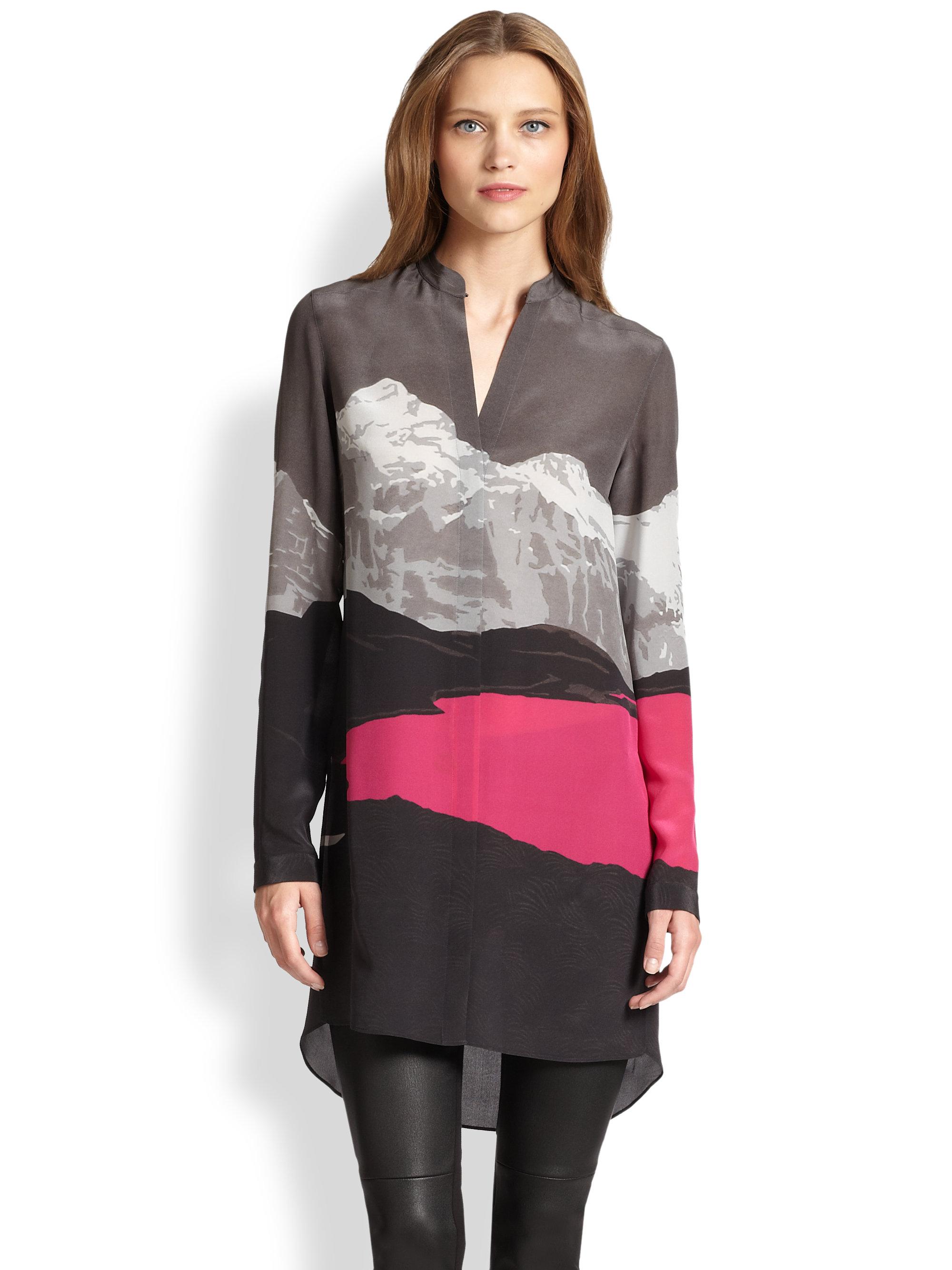 34e7be1bfe8f1 Lyst - Akris Punto Swiss Alpsprint Silk Tunic in Gray