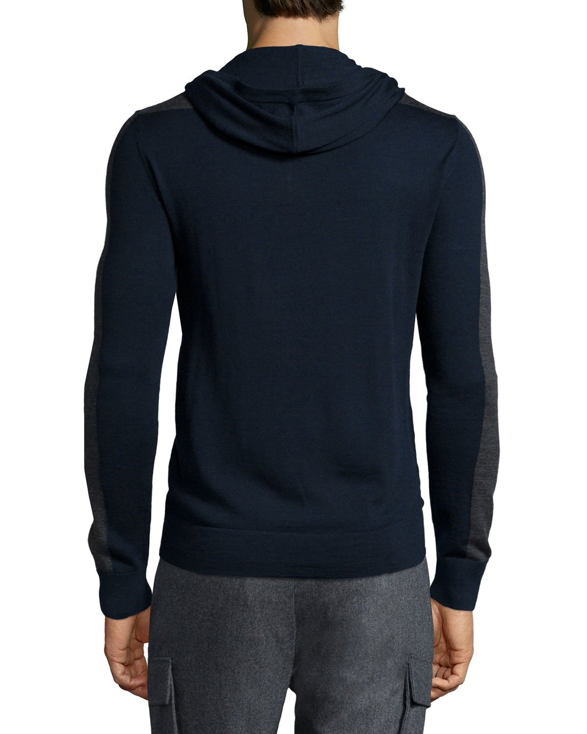 michael kors colorblock hooded pullover sweater in blue for men lyst