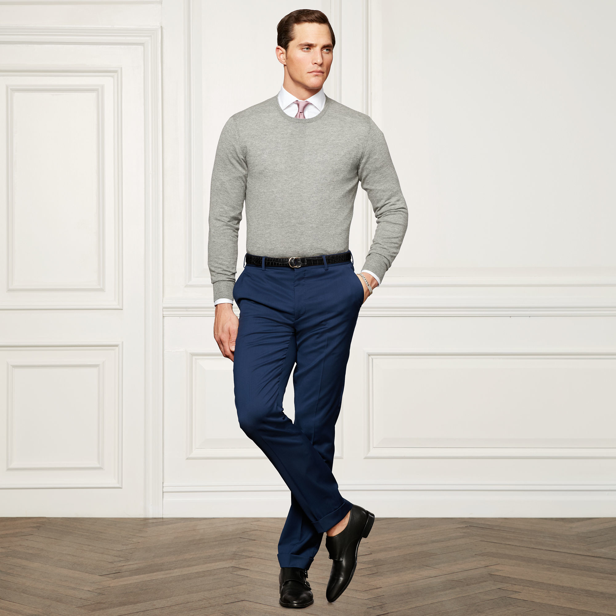 Ralph Lauren Purple Label | Gray Cashmere Crewneck Sweater for Men | Lyst. View Fullscreen