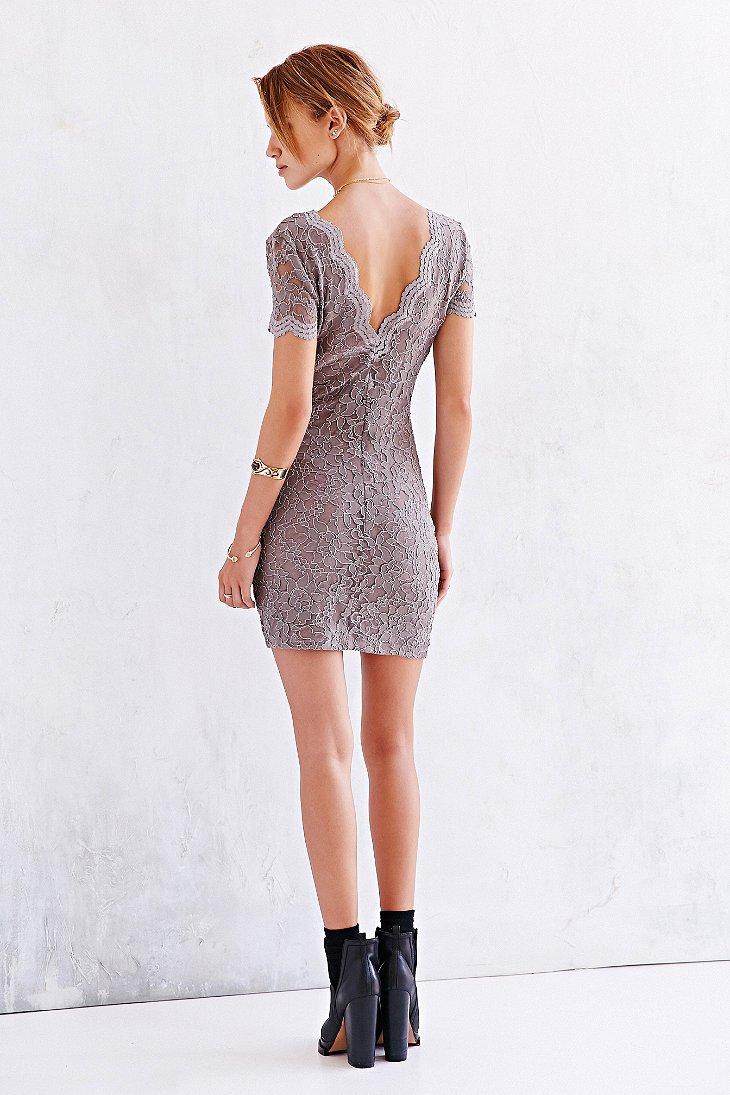 Lyst Kimchi Blue Scallop Lace Bodycon Dress In Brown