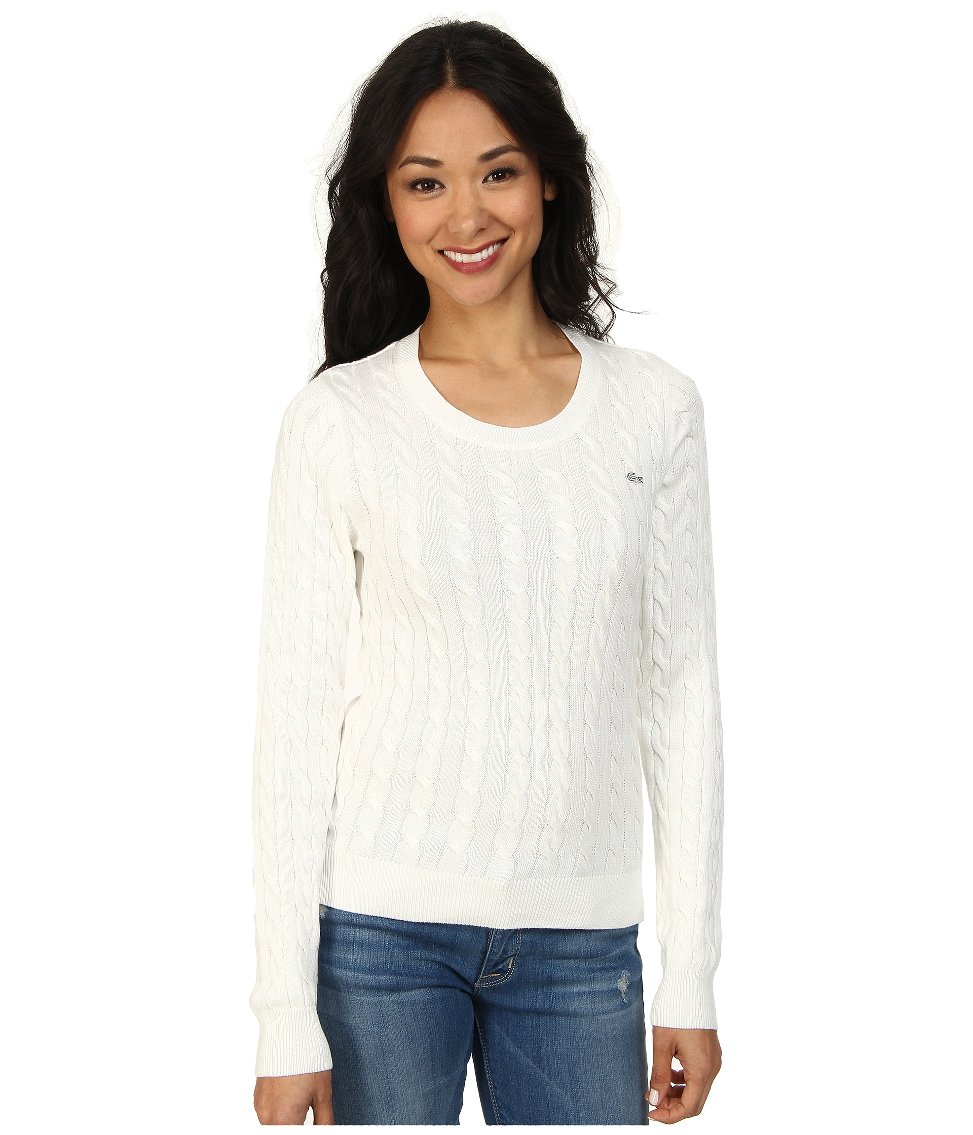Lacoste Long Sleeve Cotton Cable Knit Sweater in White | Lyst