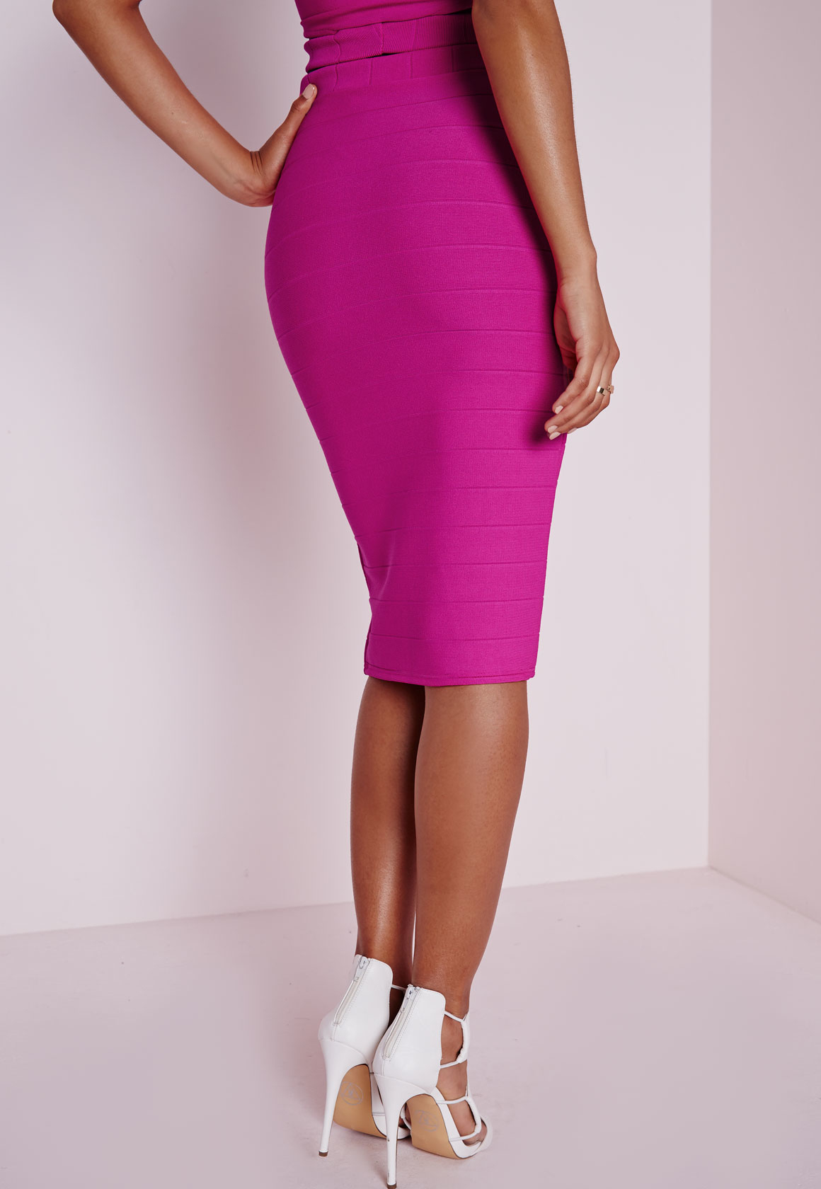 Missguided Bandage Split Midi Skirt Pink in Pink