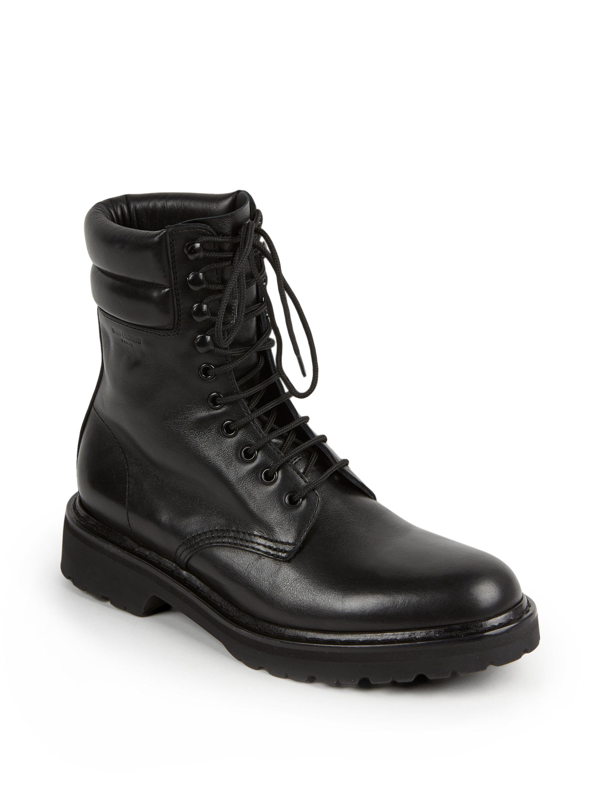 Lyst Saint Laurent Trekker 25 Leather Lace Up Boots In