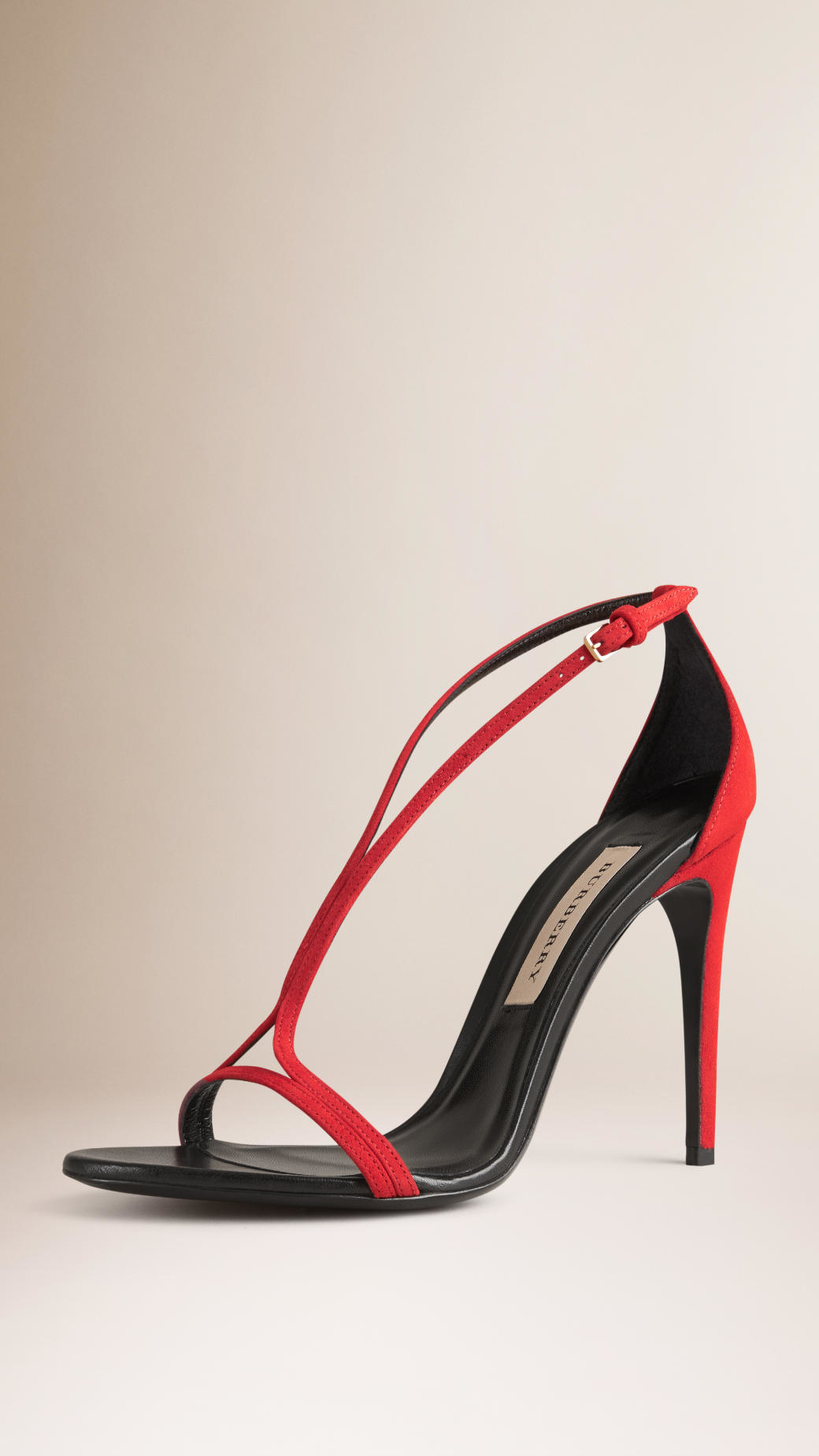 cc36141eb32 Lyst - Burberry Slim-Strap Suede Sandals in Red