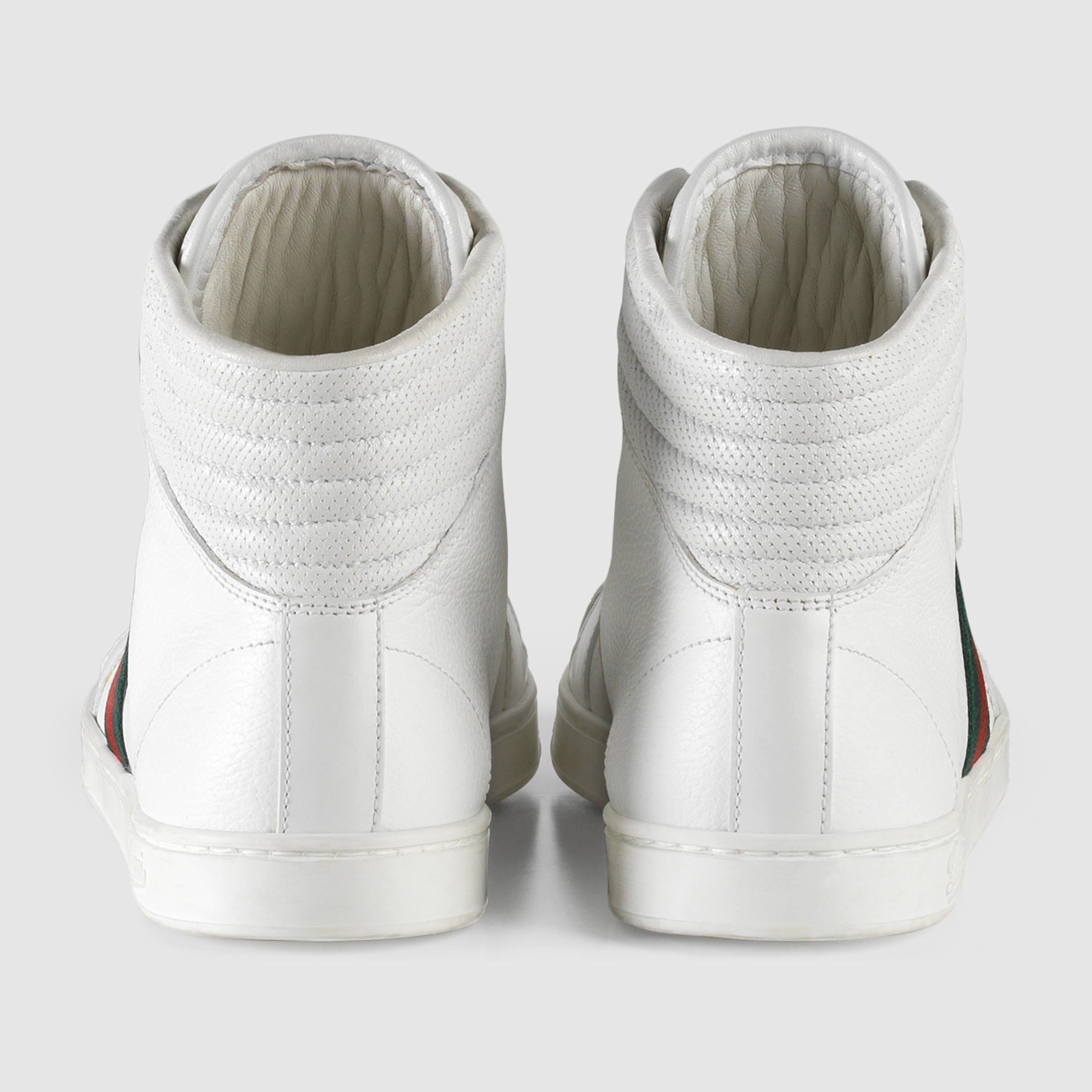 gucci high top leather sneaker in white white leather lyst. Black Bedroom Furniture Sets. Home Design Ideas