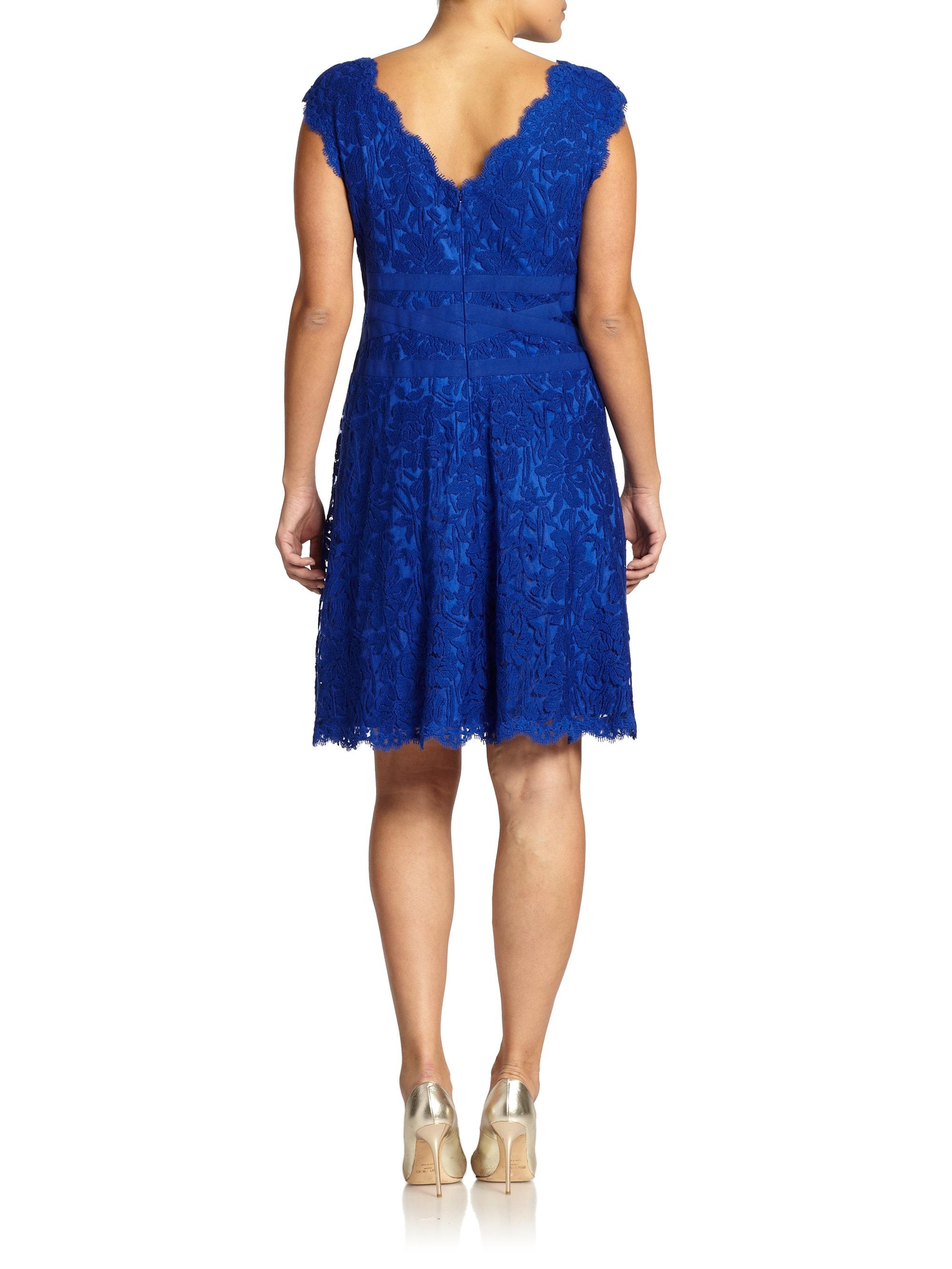 Tadashi shoji embroidered lace v neck dress in blue