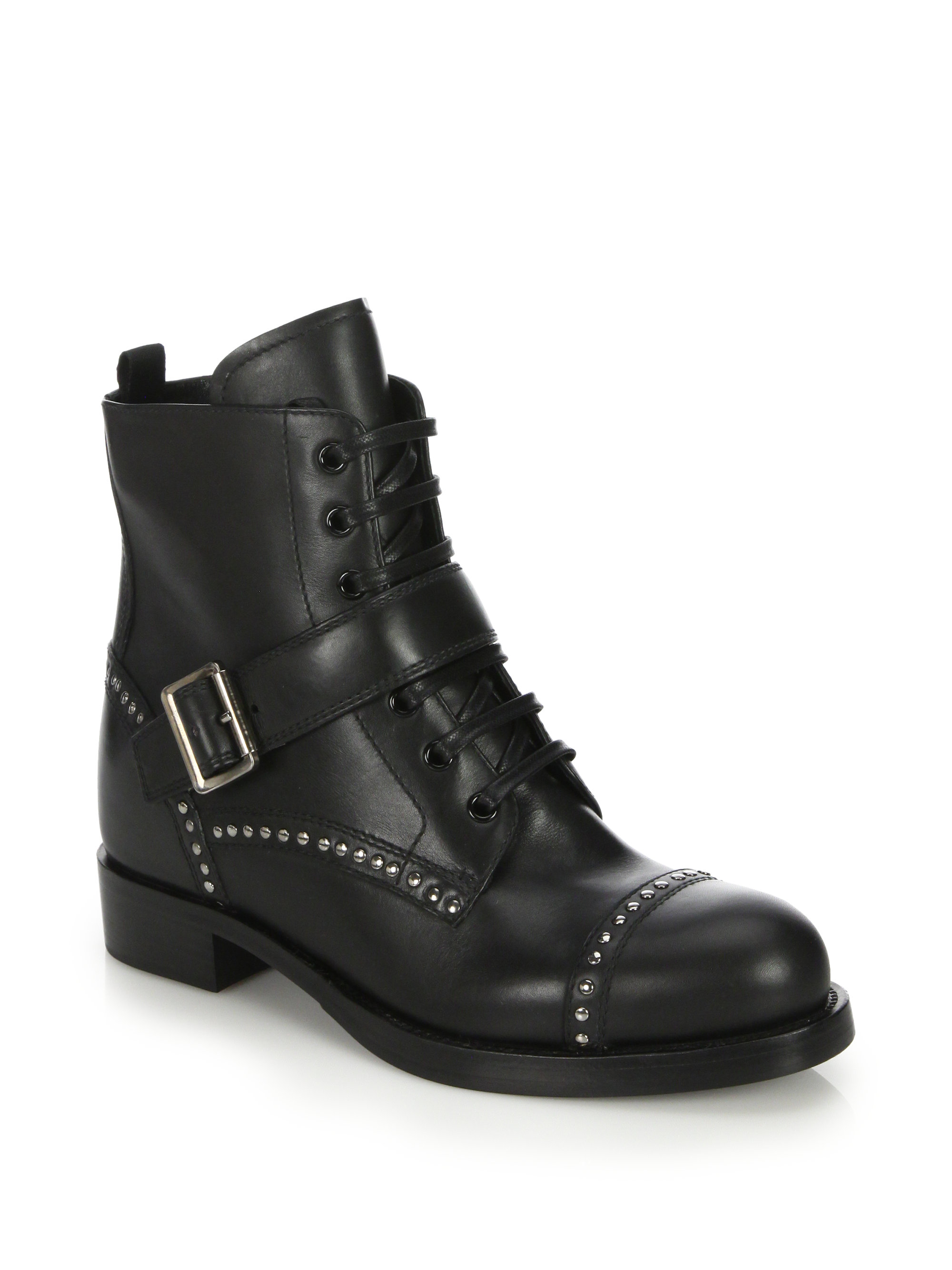 Prada Studded Leather Ankle Boots in Black | Lyst