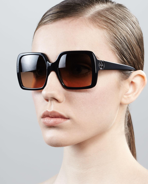 ff0d57a2f0 Lyst - Tory Burch Sharp Square Sunglasses Black in Black