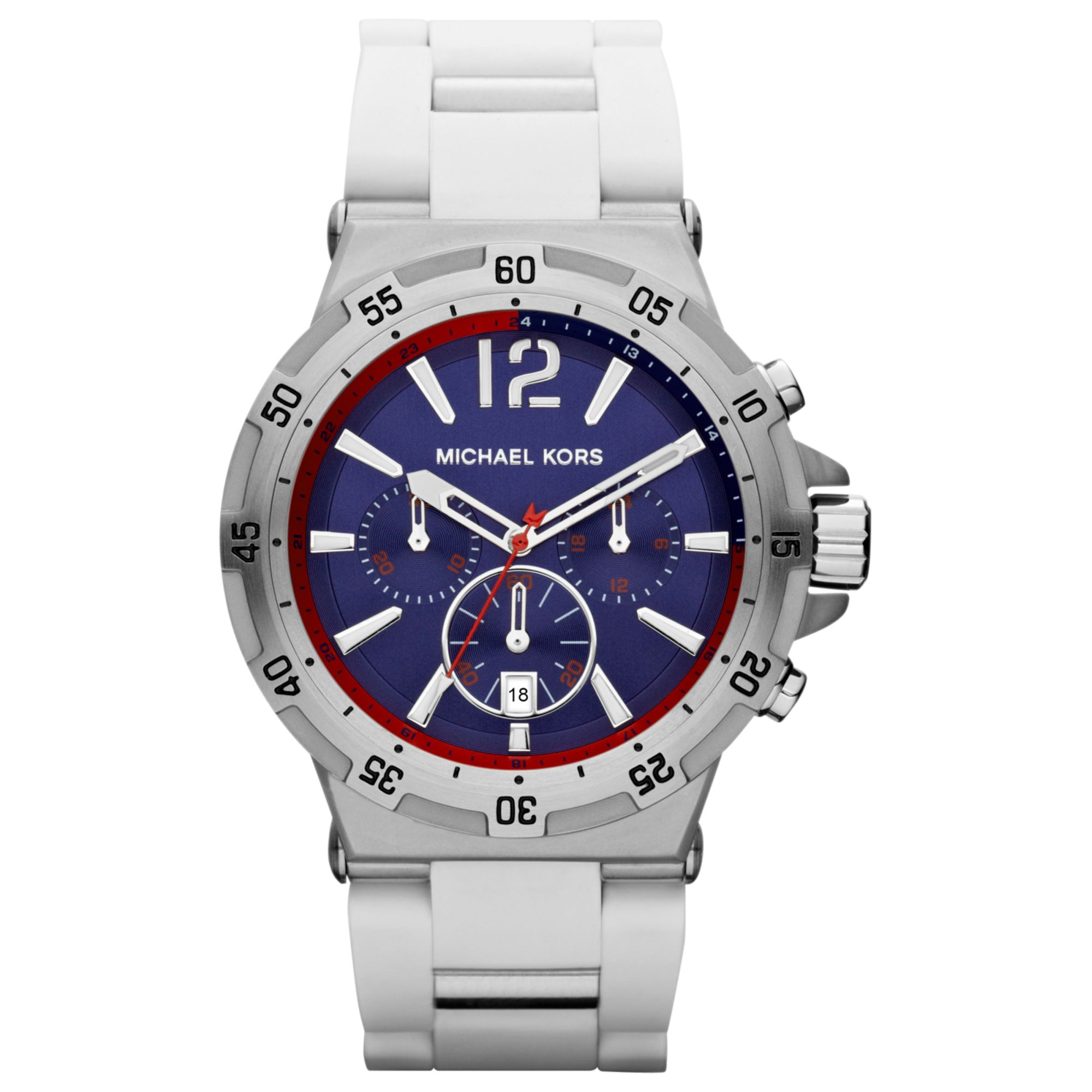 michael kors mens chronograph white silicone wrapped