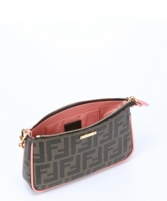 b088fa55f5c4 Lyst - Fendi Tobacco Leather Trimmed Zucca Print Coated Canvas ...