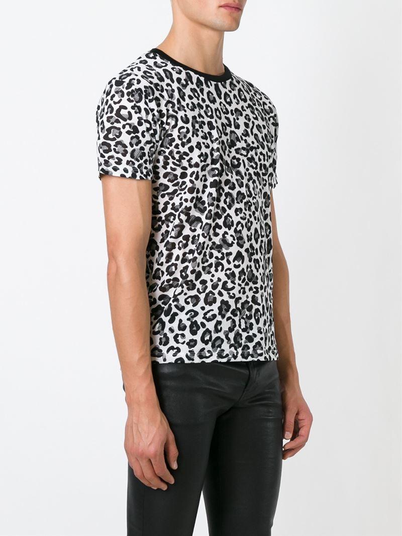 lyst saint laurent babycat print cotton t shirt in white. Black Bedroom Furniture Sets. Home Design Ideas