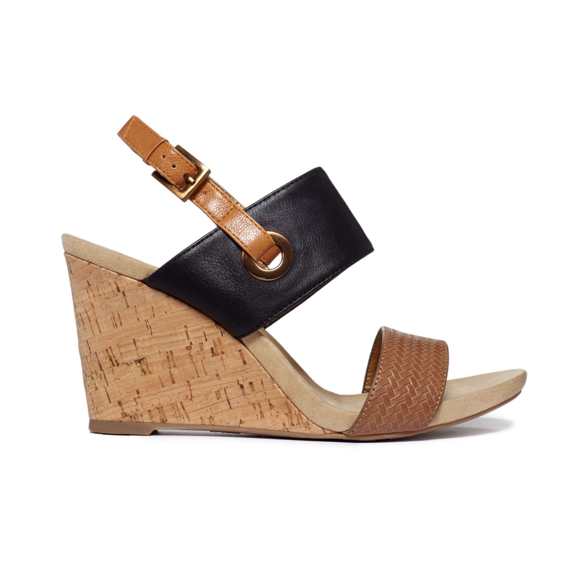 Anne Klein Taye Double Cross Strap Wedge Sandals In