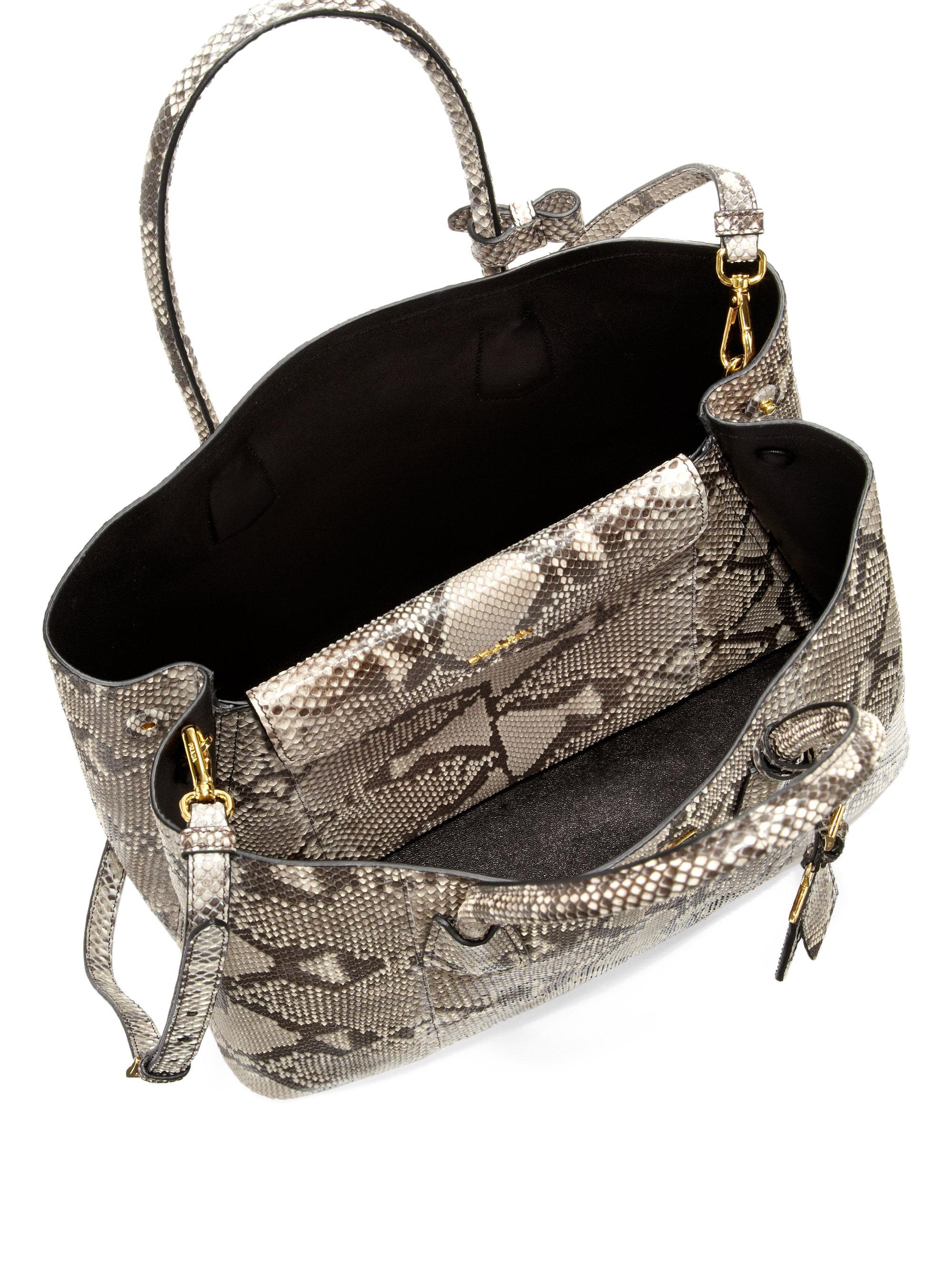 Prada Python Medium Double Bag in Gray (ROCCIA) | Lyst