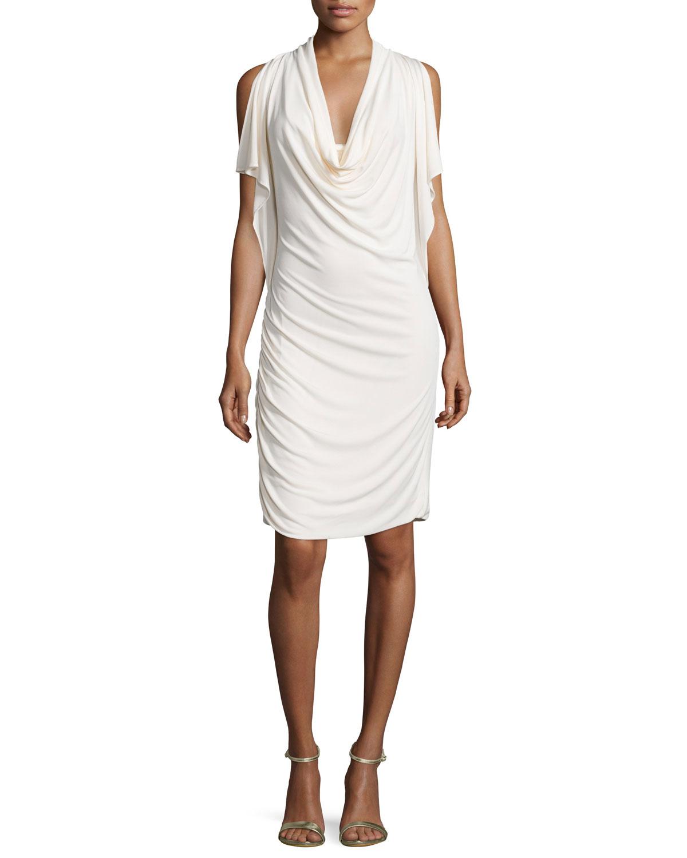 Cowl Neck Sheath Dresses: Halston Split-sleeve Cowl-neck Sheath Dress In White