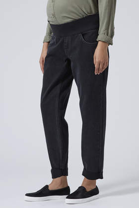 988ac1051eeac TOPSHOP Maternity Moto Black Mom Jeans in Black - Lyst